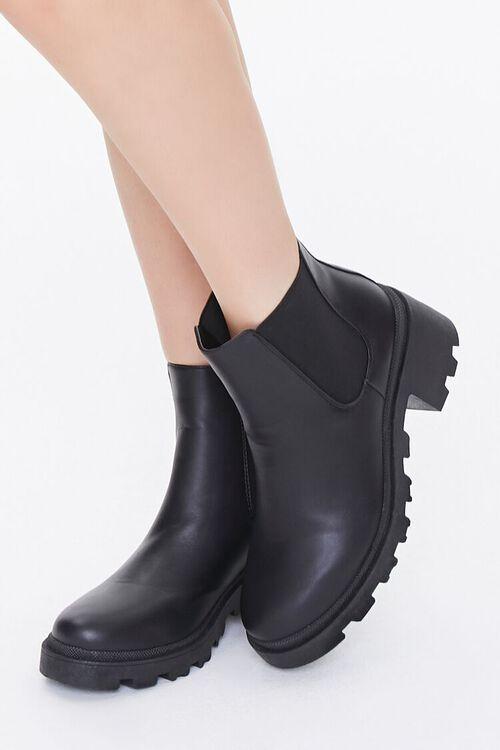 BLACK Faux Leather Chelsea Boots, image 5