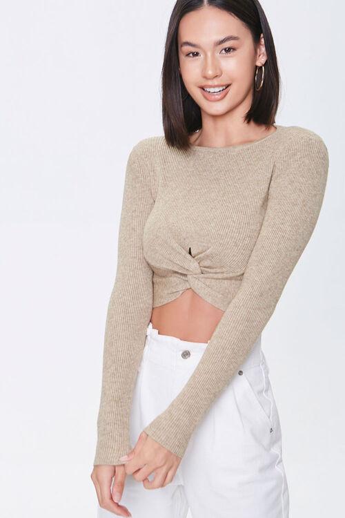 Shoulder-Pad Twist-Hem Sweater, image 1