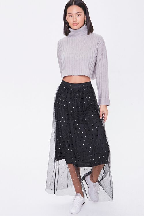 Faux Gem Mesh Midi Skirt, image 1