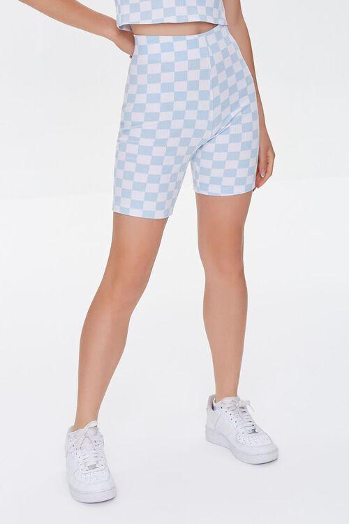 BLUE/WHITE Checkered High-Rise Biker Shorts, image 2