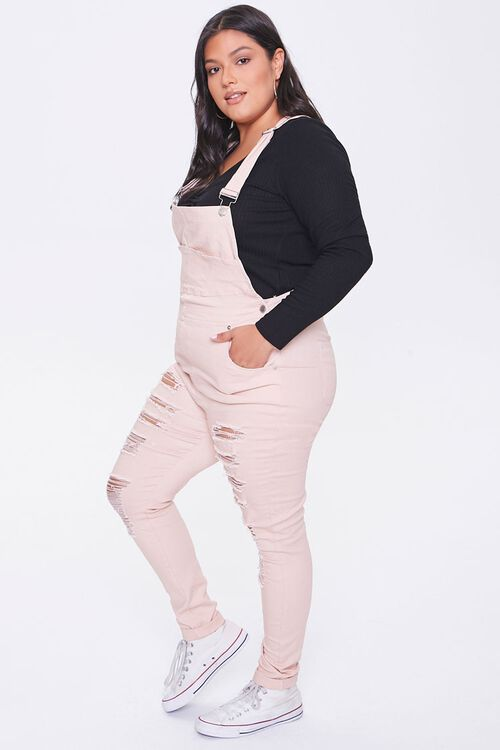 Plus Size Distressed Overalls, image 2