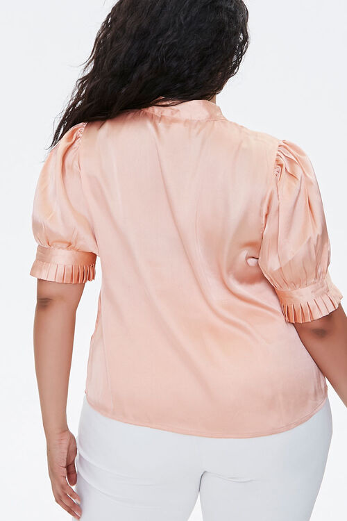 ROSE GOLD Plus Size Satin Bow-Neck Top, image 3