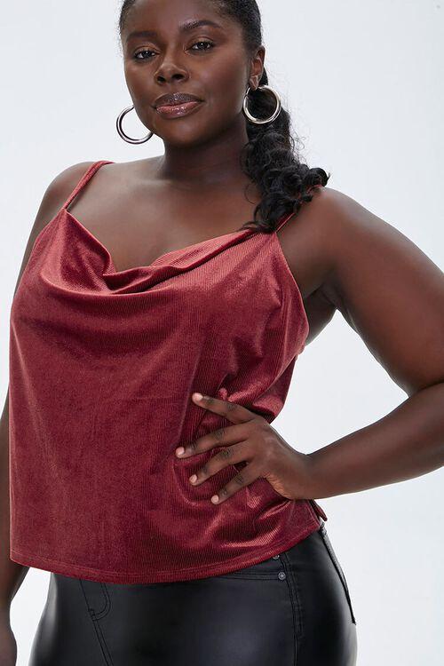 Plus Size Velvet Cowl Cami, image 1