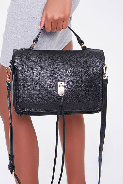 Faux Leather Flap-Top Crossbody Bag, image 2
