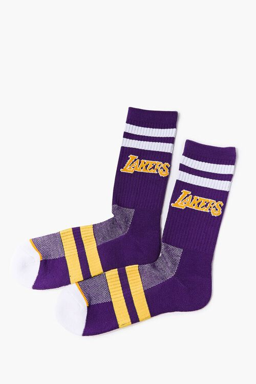 Women Striped Lakers Crew Socks, image 2