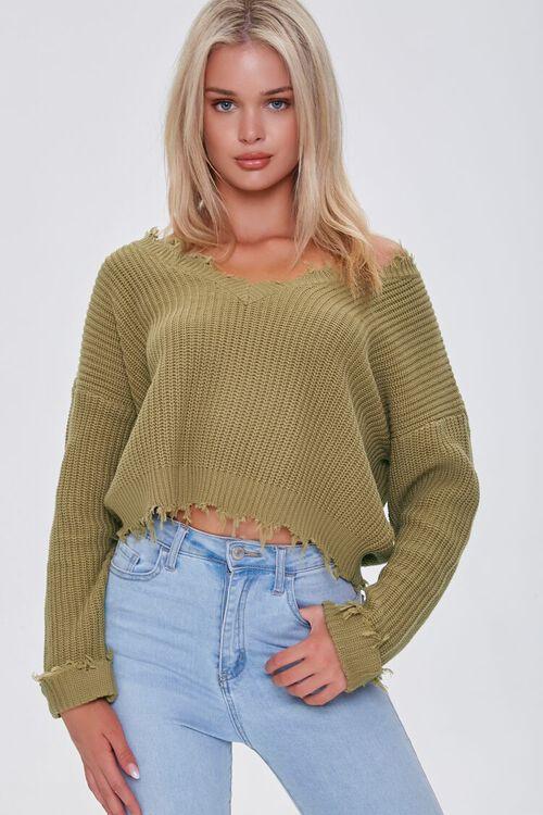 Ribbed Distressed-Trim Sweater, image 1