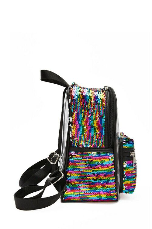 Rainbow Sequin Transparent Backpack, image 3