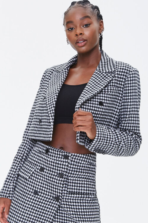 Houndstooth Double-Breasted Blazer, image 1
