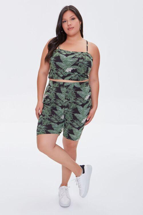 BLACK/MULTI Plus Size Leaf Print Cami, image 4