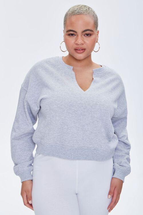 Plus Size Split-Neck Sweatshirt, image 1