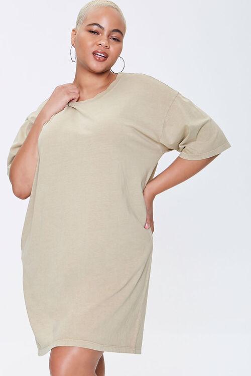 Plus Size Crew T-Shirt Dress, image 1