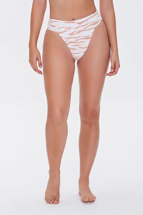 TAN/MULTI Tiger Print High-Waist Bikini Bottoms, image 2