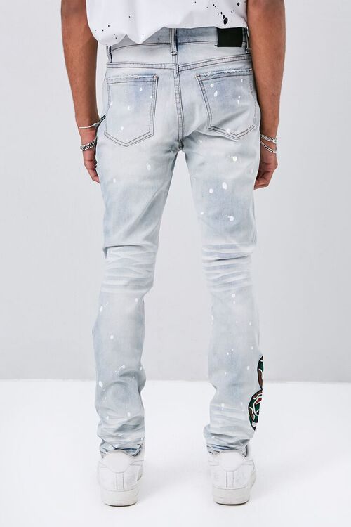 Embroidered Graphic Paint Splatter Jeans, image 4