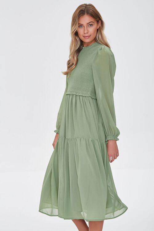 Smocked Peasant-Sleeve Dress, image 2