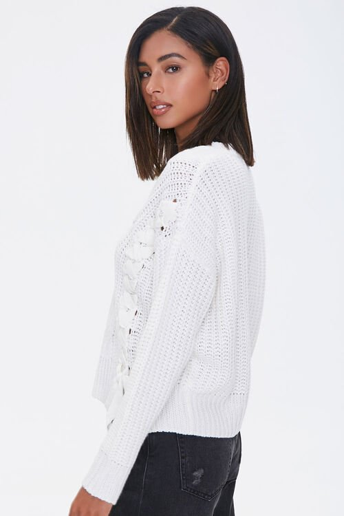 Lace-Up Cable Knit Sweater, image 2