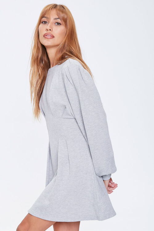 French Terry Pintucked Long-Sleeve Dress, image 2
