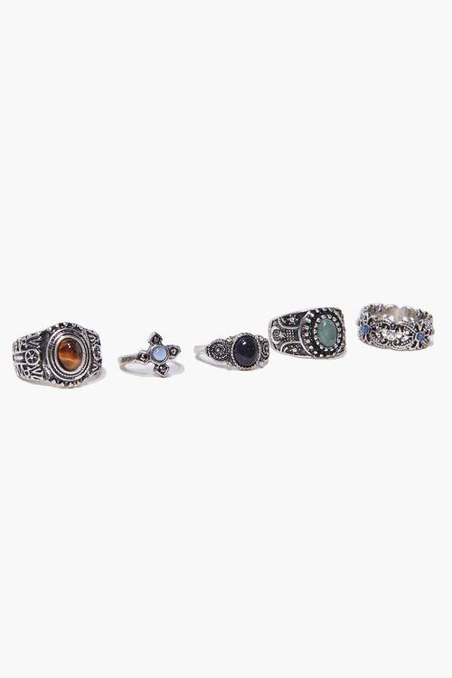 SILVER Burnished Faux Stone Ring Set, image 2