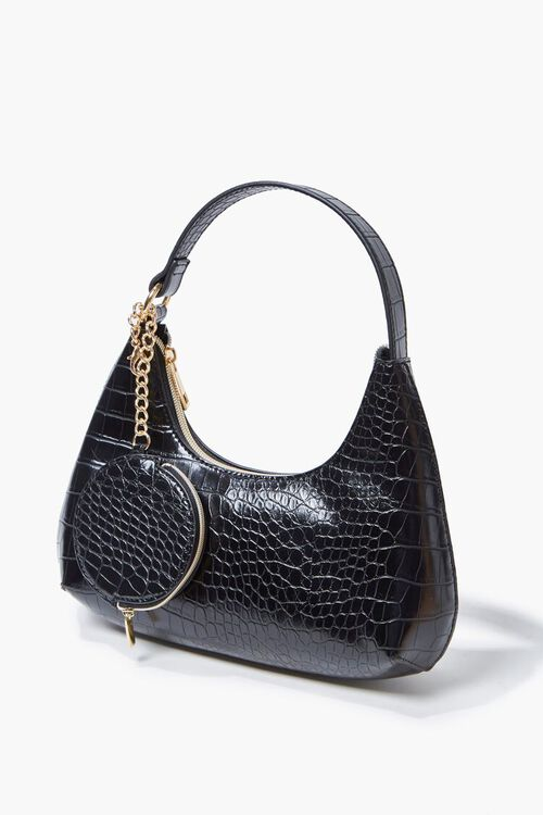 Faux Croc Leather Shoulder Bag, image 2