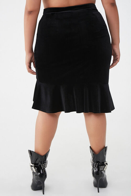 Plus Size Velvet High-Low Skirt, image 3