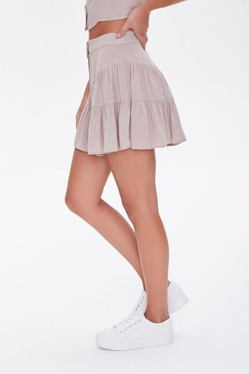 Tiered Button-Front Mini Skirt, image 3