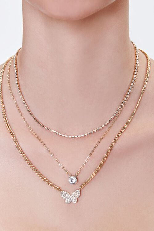 GOLD/CLEAR Rhinestone Butterfly Layered Necklace, image 1