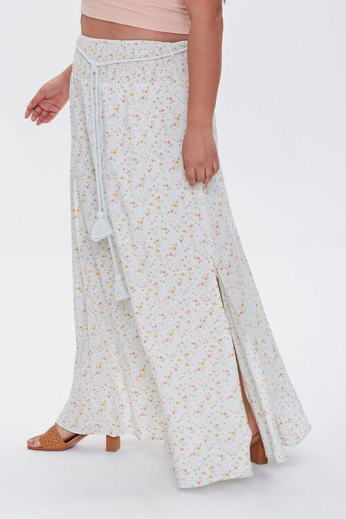 MINT/MULTI Plus Size Floral M-Slit Skirt, image 3