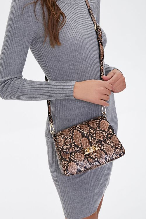 Faux Snakeskin Crossbody Bag, image 1