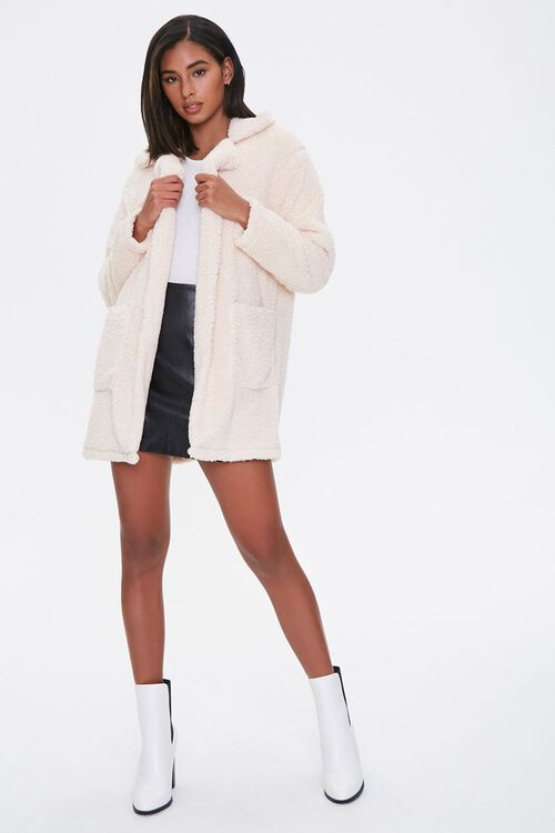 Faux Shearling Open Front Coat, image 4