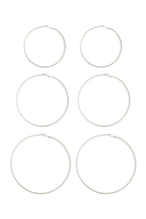 Textured Oversized Hoop Earrings Set, image 1