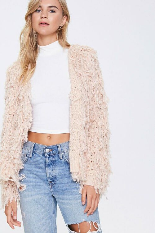 Shaggy Open-Front Cardigan, image 1
