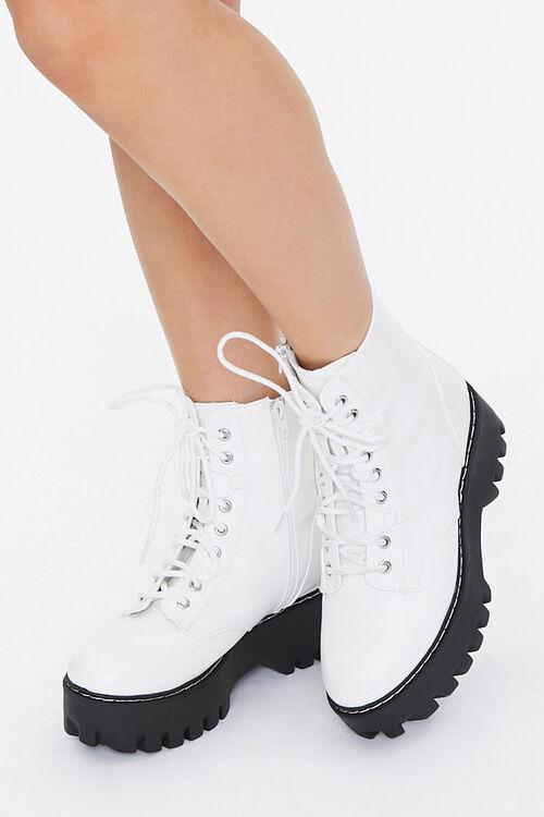 Faux Leather Lace-Up Platform Boots, image 1