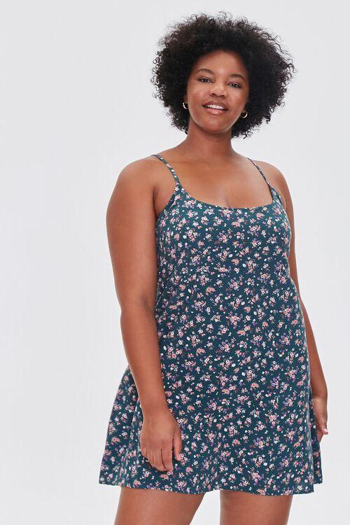 HUNTER GREEN/MULTI Plus Size Ditsy Floral Mini Dress, image 1