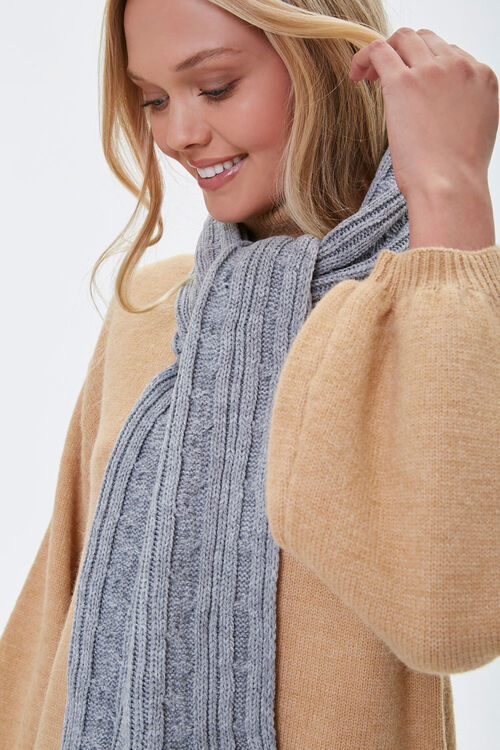 Cable Knit Oblong Scarf, image 1