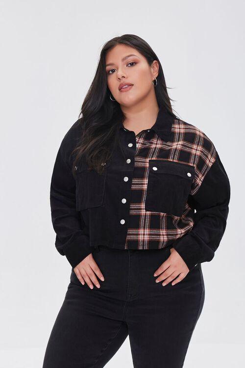 Plus Size Cropped Corduroy Plaid Shirt, image 1