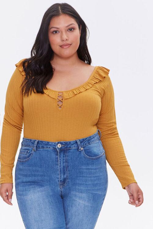 Plus Size Ribbed Ruffle Bodysuit, image 1