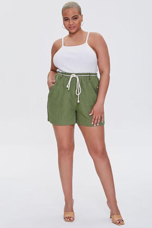 Plus Size Paperbag Linen-Blend Shorts, image 5