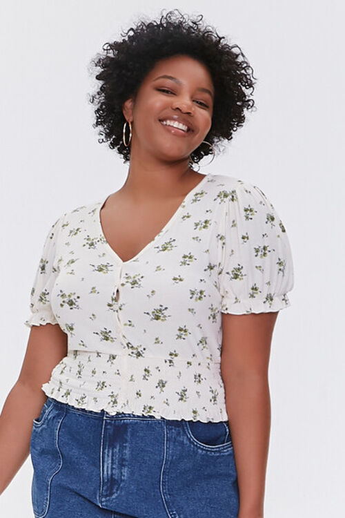Plus Size Floral Puff-Sleeve Top, image 1