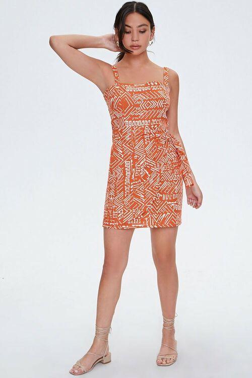 RUST/CREAM Geo Print Faux Wrap Dress, image 4
