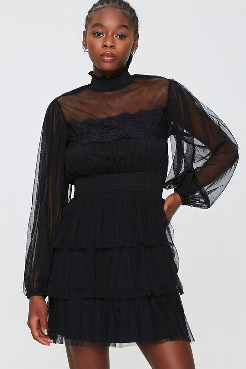 Tiered Mesh Mini Dress, image 1