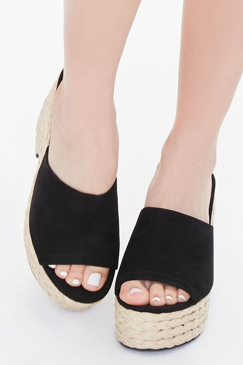 BLACK Faux Suede Espadrille Block Heels, image 4