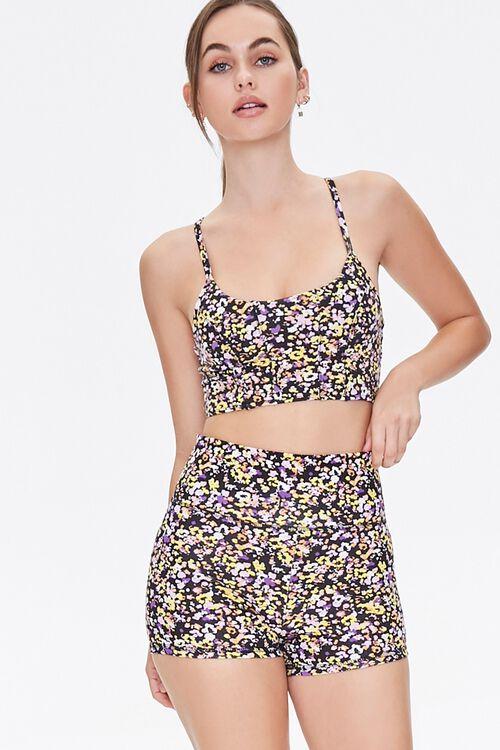 Active Floral Biker Shorts, image 1