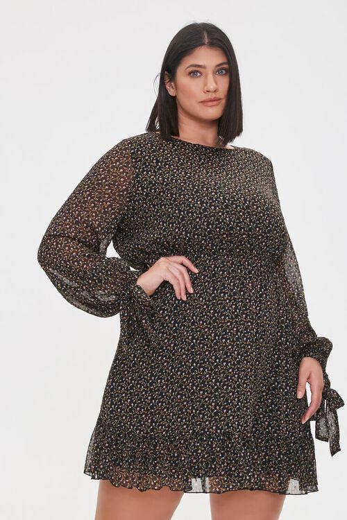 Plus Size Chiffon Ditsy Floral Dress, image 2