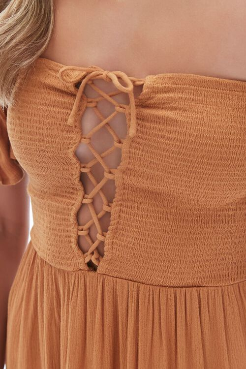 AMBER Lace-Up Off-the-Shoulder Midi Dress, image 5