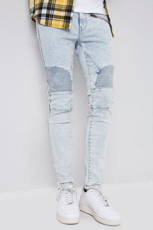Skinny Zippered Moto Jeans, image 1