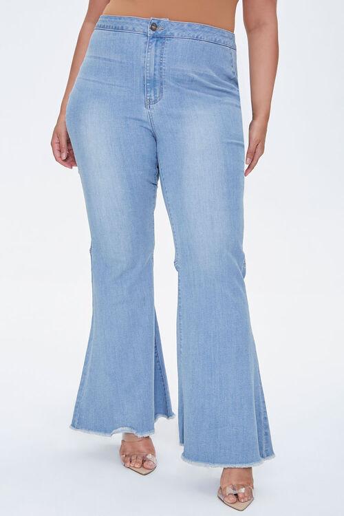 Plus Size Frayed Flare Jeans, image 2