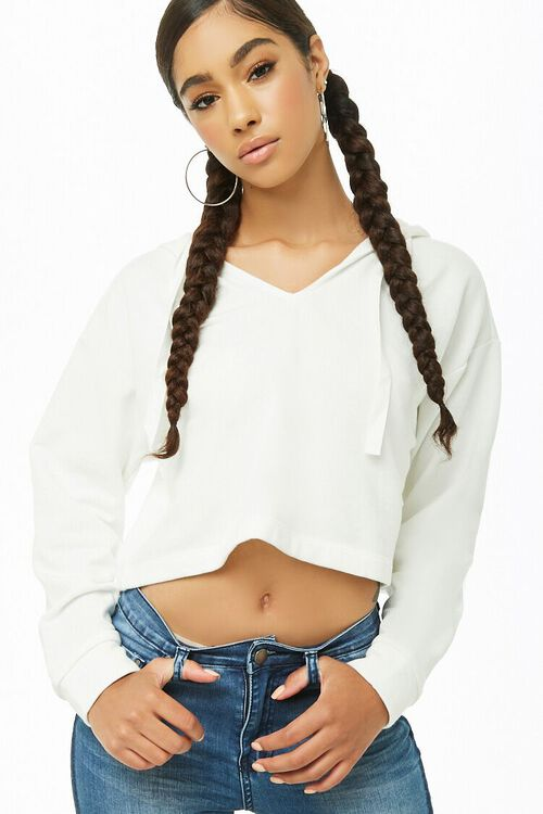 CREAM Cropped Hooded Pullover, image 1