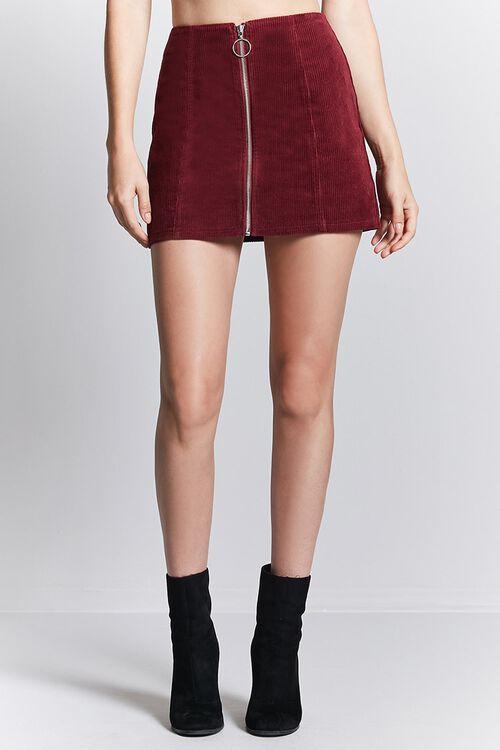 BURGUNDY Corduroy Zip-Front Mini Skirt, image 4