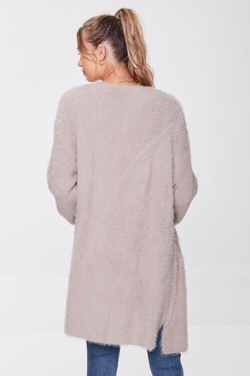 TAUPE Fuzzy Knit Cardigan Sweater, image 3