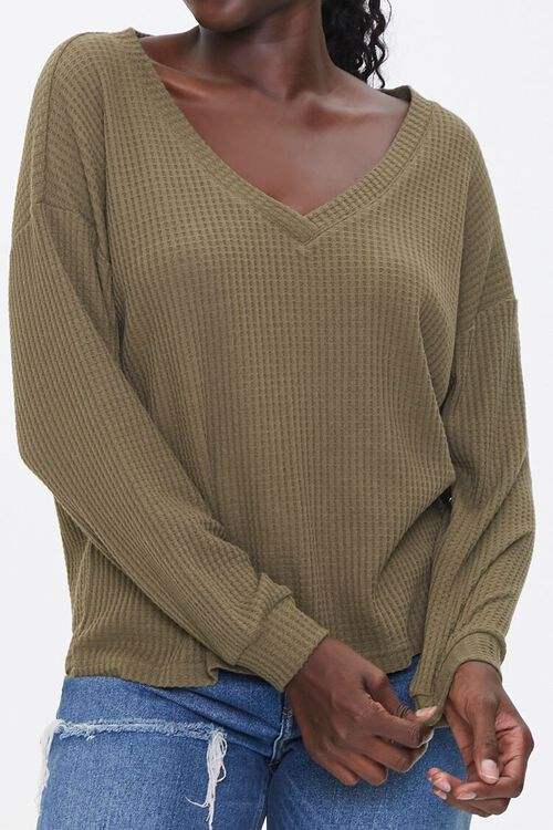 Waffle Knit Drop-Sleeve Top, image 1