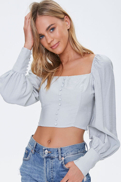 Button-Front Peasant Crop Top, image 1